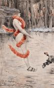 Oscar Wilson (1867-1930) English. A Naked Lady Skating wearing a Boa, being pulled by a Dog,