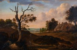 "Early 19th Century Dutch School. An Extensive Landscape with Figures, Oil on Panel, 11.5"" x 17"" ("