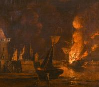 "William Marlow (1740-1813) British. 'A Ship Ablaze at Night in a Town Harbour', Oil on Canvas, 15"" x"