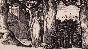 "Edward Calvert (1799-1883) British. ""The Lady with the Rooks"", Wood Engraving, Third State, 1.7"" x"