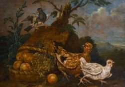 Giovanni Agostino Cassana (1658-1720) Italian. Birds with an Upturned Basket of Fruit, Oil on Canvas