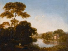 Circle of Richard Wilson (1714-1782) British. A River Landscape with a Figure Fishing in the