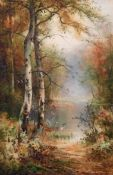 "Thomas Taylor Ireland (act.1880-1927) British. ""Golden Autumn"", a Tranquil River Landscape,"
