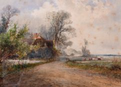 Arthur Willett (1857-1918) British. A Country Landscape with a Cottage and Cattle beyond,