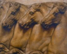 Late 19th Century English School. The Horses Heads in the style of the Elgin Marbles, Oil on Canvas,