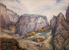 "D… C… Mackinlay (19th – 20th Century) British. A Mountainous Landscape, Watercolour, Signed, 5.25"" x"