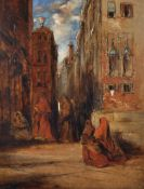 James Holland (1799/1800-1870) British. A Venetian Scene, with Figures entering a Church, Oil on