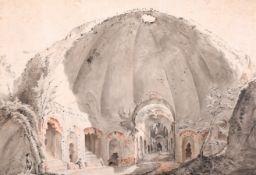 "Late 18th Century English School. ""The Serapeum, Hadrian's Villa, Tivoli"", Watercolour, 10.5"" x 15."