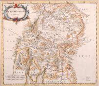 """Robert Morden (1650-1703) British. """"Westmorland"""", Map, 14.25"""" x 16.5"""" (36.3 x 42cm)"""