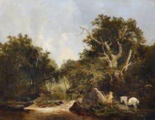 James Stark (1794-1859) British. 'Sighting the Deer', a River Landscape with a Sportsman, and Deer