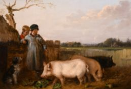 """Edmund Bristow (1787-1876) British. """"Country Life"""", Two Young Boys with Pigs and a Dog, Oil on"""