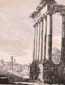 """After Luigi Rossini (1790-1857) Italian. """"Avanzi del Tempio della Concordia"""", Engraving, 18"""" x 14."""