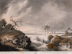 """After Samuel Howitt (c.1765-1822) British. """"The Ganges Breaking its Banks with Fishing"""", Print, 12."""
