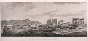 """After Andre Dutertre (1753-1842) French. """"Ile de Philae"""", Engraving, in a Fine Egyptian Frame, 16"""" x"""