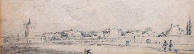 "Circle of Antonio Senape (1788-1850) Italian. An Italianate Landscape with Figures, Pencil, 5"" x"