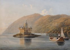 """John Varley (1850-1933) British. A Gothic Keep, with Figures in a Boat, Watercolour, Signed, 10"""" x"""