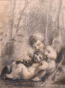 """After Pierre-Paul Prud'hon (1758-1823) French. A Study of Two Cherubs, Charcoal, 16.5"""" x 12.5"""""""
