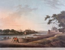 """After Thomas and William Daniell (18th – 19th Century) British. """"Lucnow taken from the Opposite Bank"""