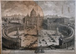 """18th Century Italian School. Vatican Square with Figures, Engraving, 27.5"""" x 38"""" (70 x 96.5cm) and"""