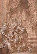 """After Pietro Negroni (1503-1565) Italian. """"Birth of Christ"""", Ink and Wash, with Collector's Mark '"""