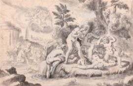 "Circle of Dirck Van Der Lisse (1586-1669) Dutch. ""Diana and Actaeon"", Ink Watercolour and Wash,"