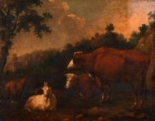 "Attributed to Adriaen van de Velde (1636-1672) Dutch. Cattle in a Landscape, Oil on Canvas, 10"" x"