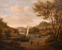 Attributed to Jan Griffier the Younger (c.1688-1773) Dutch. A River Scene with Boats, Figures and