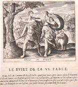 """17th Century French School. """"Le Sviet de la VI. Fable"""", Print, Unframed, 4.25"""" x 5.25"""" (10.8 x 13."""