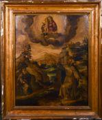 "16th Century Spanish School. St Francis receiving the Stigmata, Oil on Panel, 31.25"" x 25"" (79.3 x"