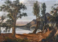 Marianna Candidi (18th Century) Italian. A Classical Landscape with Figures, Gouache, Signed,