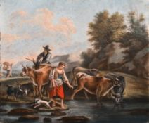"18th Century French School. Figures and Cattle in a River Landscape, Pastel, Unframed, 14.5"" x 17.5"""