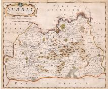 "After Robert Morden (c.1650-1703) British. ""Surrey"", Map, 14"" x 16.5"" (35.5 x 42cm)"