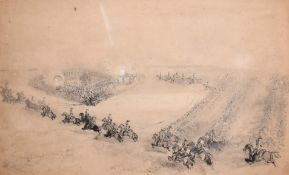 Maclure (19th Century) British. A Calvary Battle Manoeuvre, Ink and Wash, Indistinctly Signed,