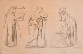 "19th Century English School. Classical Female Figures from the Arts, Pencil, Unframed, 9.75"" x 14."