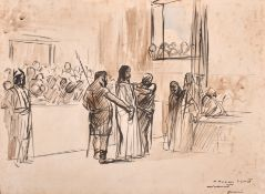 Jean-Louis Forain (1852-1931) French. Christ before Pontius Pilate, Watercolour and Ink, Signed