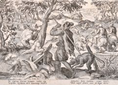 After Jan van der Straet 'Stradanus' (1523-1605) Dutch. The Hare Hunt, Engraving from the series '