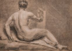 "18th Century French School. Study of the back view of a Naked Woman, Chalk, 9.5"" x 13.5"" (24.2 x"