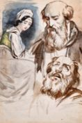 Attributed to Theodore Matthias von Holst (1810-1844) British. Sketch of a Lady and Two Bearded Men,