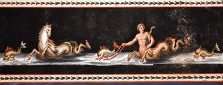 Circle of Michelangelo Maestri (act.c.1802-c.1812) Italian. A Frieze Design of Poseidon, Gouache,