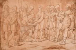 "19th Century English School. Roman Soldiers Arresting a Man, Ink and Wash, Unframed, 9.25"" x 13."