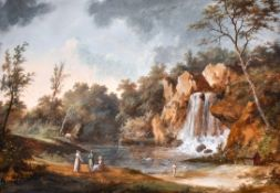 Late 18th Century French School. Elegant Figures in a Classical Landscape with a Waterfall, Gouache,