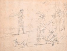 Circle of David Teniers (1610-1690) Flemish. Figures at a Battle Encampment, Pencil, with a