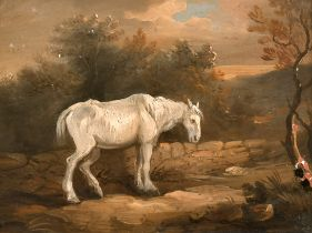 "Circle of James Ward (1769-1859) British. A Horse on a Bridge, Oil on Panel, 6.5"" x 8.5"" (16.5 x"