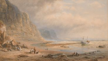 "Henry George Hine (1811-1895) British. ""At Hastings"", Watercolour, Signed and Inscribed, 12.5"" x 23"""