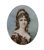 Early 19th Century English School. A Portrait of Lady Wright (nee Rebecca Mclane 1772-1819),