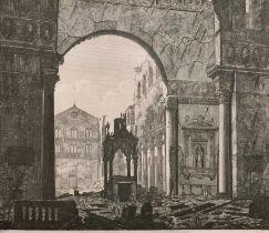 "After Luigi Rossini (1790-1857) Italian. ""Veduta della Rovina"", Engraving, 19"" x 22.75"""