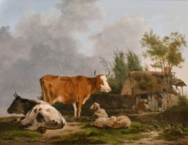Jean Francois Legillon (1739-1797) French. Figures by a Thatched Cottage with Cattle in the