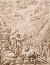 "Circle of Inigo Jones (1573-1652) British. The Baptism of Christ, Ink and Wash, 8.5"" x 6.75"" (21.6 x"