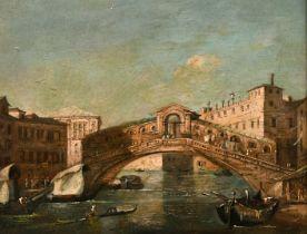 "19th Century Italian School. The Rialto Bridge, Oil on Panel, 7"" x 8.75"" (17.5 x 22cm)"