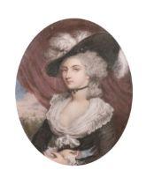 "Miss G Cruikshankes (19th-20th Century) British. ""Mrs Mary Robinson"" after Sir Joshua Reynolds ("